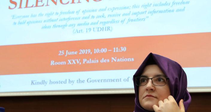 Hatice Cengiz, fiancee of the murdered Saudi journalist Khashoggi takes part in a UN side event in Geneva