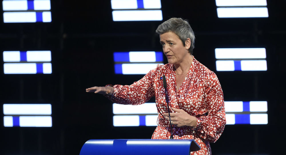 Danish candidate for the European Commission Presidency Margrethe Vestager of the Alliance of Liberals and Democrats for Europe (ALDE) gives a speech during a EPP election-night event for European parliamentary elections in Brussels on May 26, 2019.
