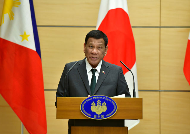 Philippine President Rodrigo Duterte delivers a speech during their joint press statement with Japan's Prime Minister Shinzo Abe (not pictured) at Abe's official residence in Tokyo, Japan May 31, 2019
