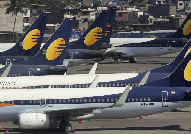 Jet Airways aircrafts are parked at Chhatrapati Shivaji Maharaj International Airport in Mumbai