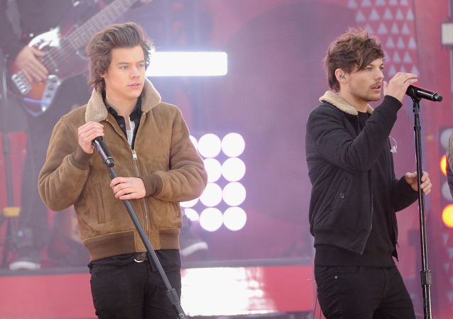 NEW YORK, NY - NOVEMBER 26: Harry Styles and Louis Tomlinson of One Direction perform at Rumsey Playfield on November 26, 2013 in New York City.