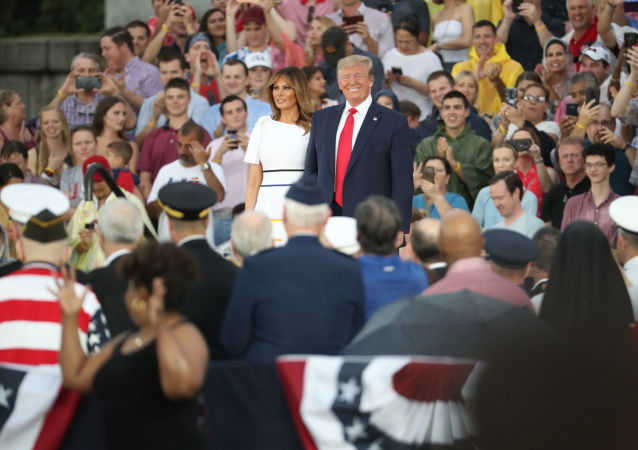 President Donald Trump and first lady Melania Trump arrive at an Independence Day celebration in front of the Lincoln Memorial in Washington, Thursday, July 4, 2019. (AP Photo/Andrew Harnik)