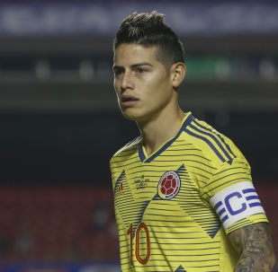 Colombia's captain James Rodriguez is pictured during the Copa America football tournament group match against Qatar at the Cicero Pompeu de Toledo Stadium, also known as Morumbi, in Sao Paulo, Brazil, on June 19, 2019