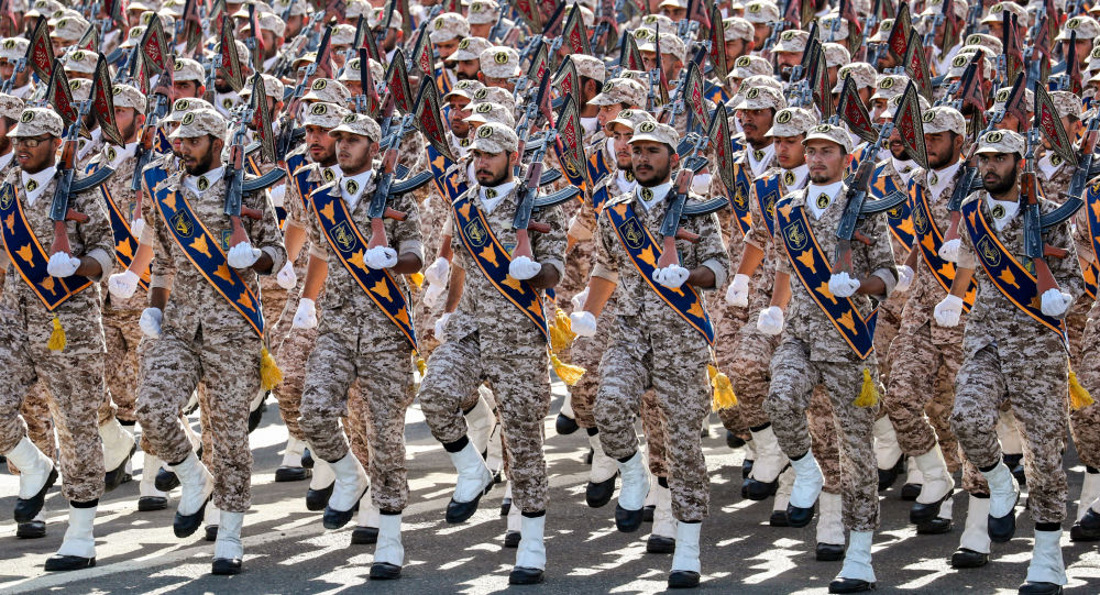 Members of Iran's Revolutionary Guards Corps (IRGC) march during the annual military parade, marking the anniversary of the outbreak of the devastating 1980-1988 war with Saddam Hussein's Iraq, in the capital Tehran on 22 September 2018