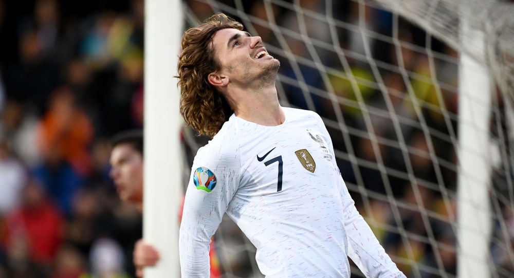 France's forward Antoine Griezmann reacts during the UEFA Euro 2020 qualification football match between Andorra and France at the National stadium in Andorra La Vella, on June 11, 2019
