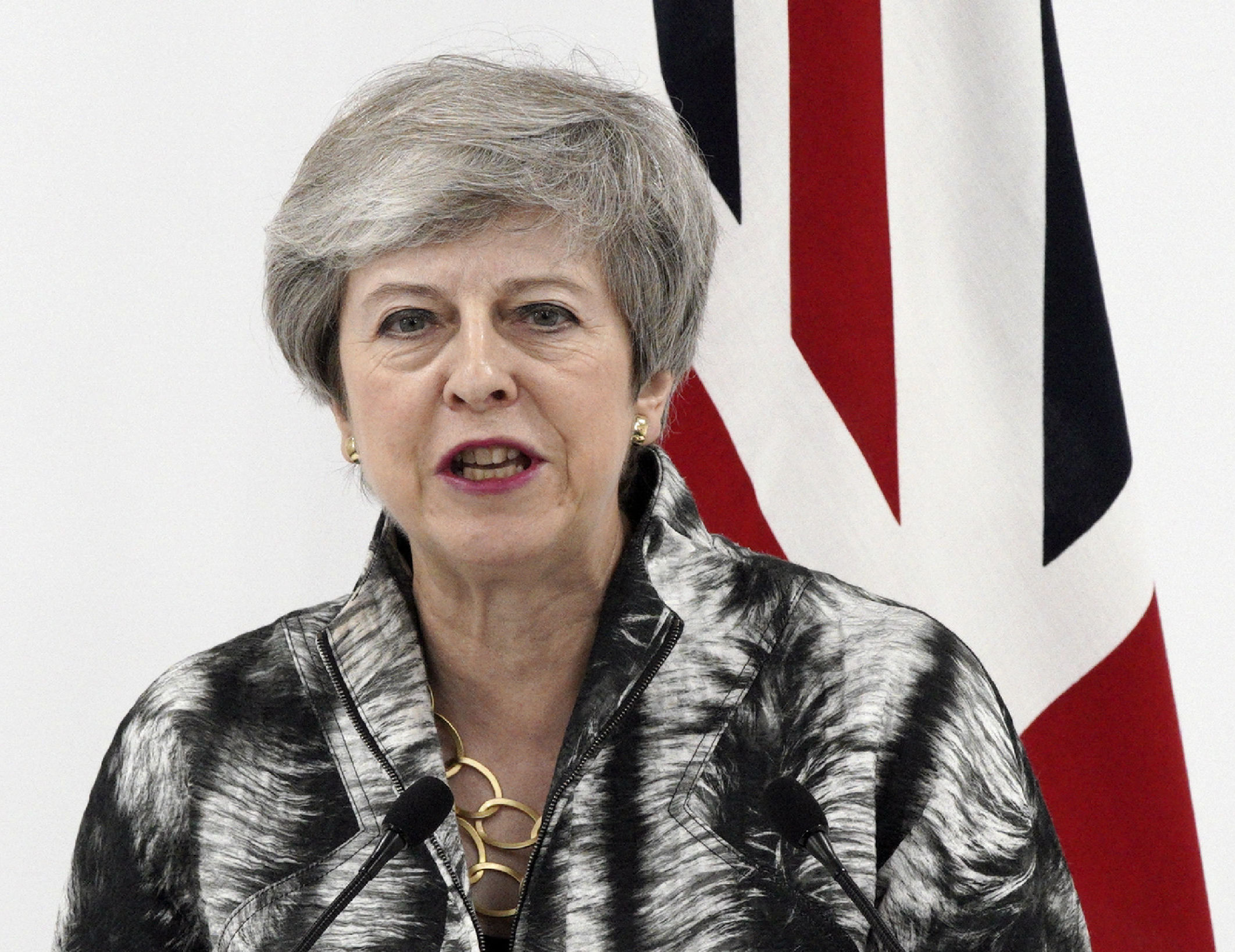 British Prime Minister Theresa May speaks during a press conference after the G-20 summit in Osaka, western Japan Saturday, June 29, 2019