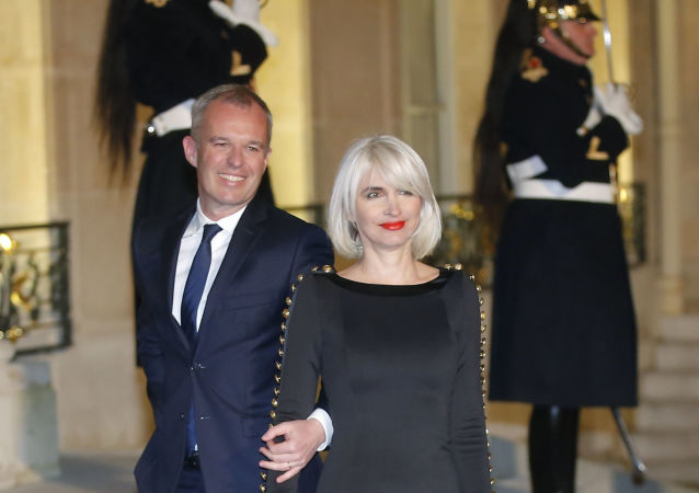 President of the French National Assembly Francois de Rugy, left, and his wife Severine Servat arrive for a state dinner at the Elysee Palace in Paris, France, Monday, March 19, 2018, in honor of Grand Duke Henri of Luxembourg and Grand Duchess of Luxembourg Maria-Teresa.
