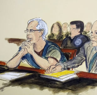 Jeffrey Epstein, left, and his attorney Martin Weinberg listen during a bail hearing in federal court
