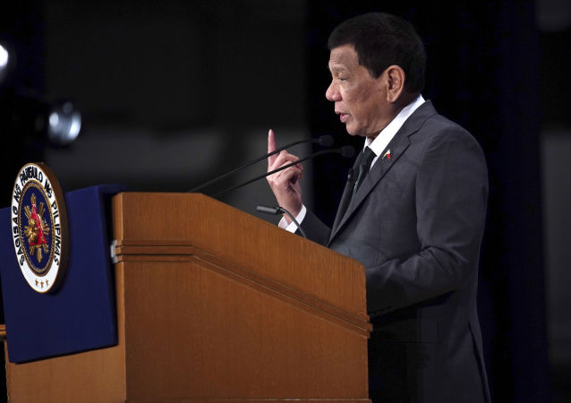 Philippine President Rodrigo Duterte delivers a speech at the special session of the International Conference on The Future of Asia Friday, May 31, 2019, in Tokyo