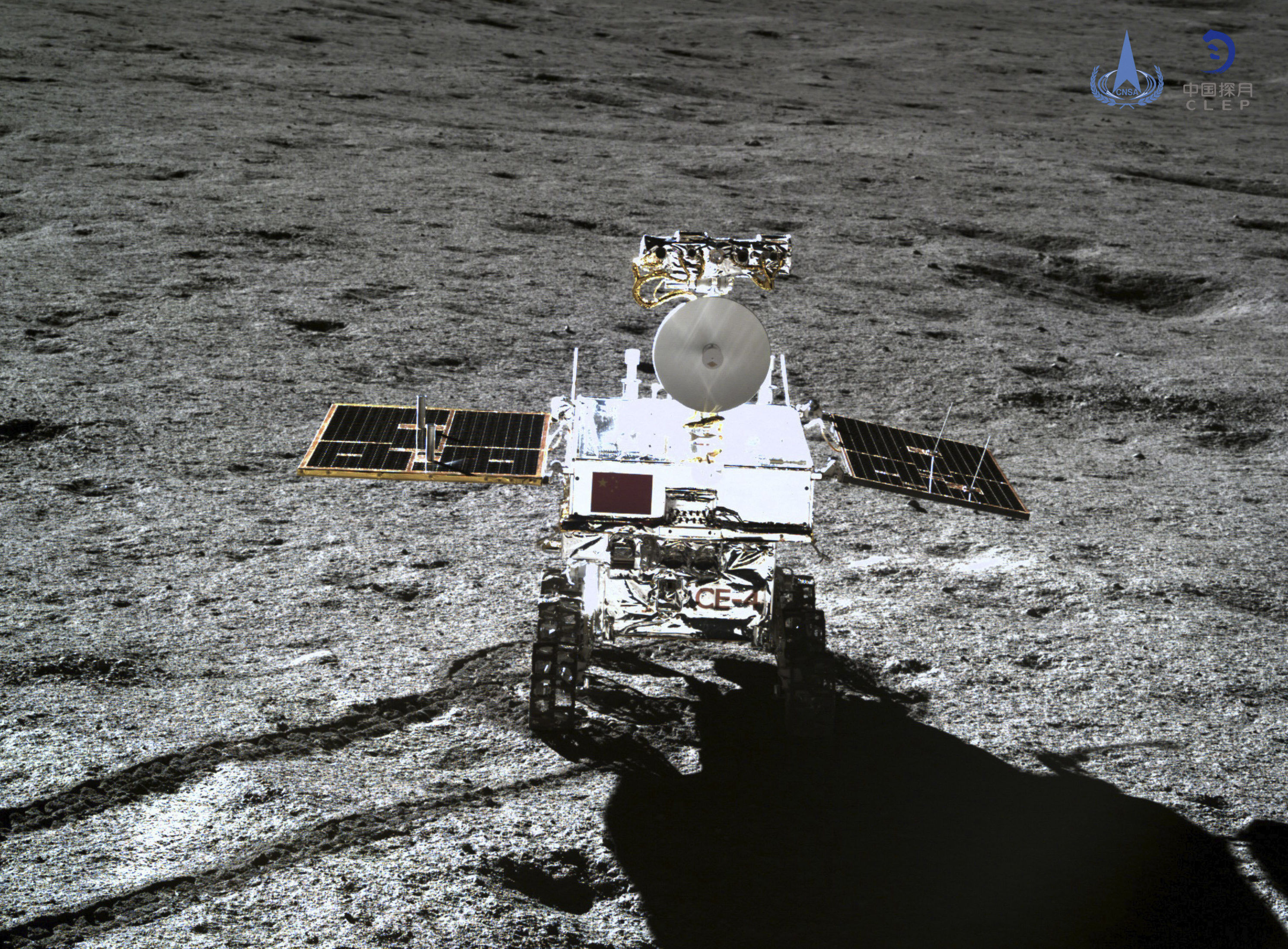 In this photo provided Jan. 12, 2019, by China National Space Administration via Xinhua News Agency, the rover Yutu-2 is seen in a photo taken by the lander of the Chang'e-4 probe on Jan. 11, 2019