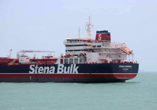 This handout picture released by Tasnim News Agency on July 20, 2019, shows British-flagged tanker Stena Impero anchored in Bandar Abbas in southern Iran