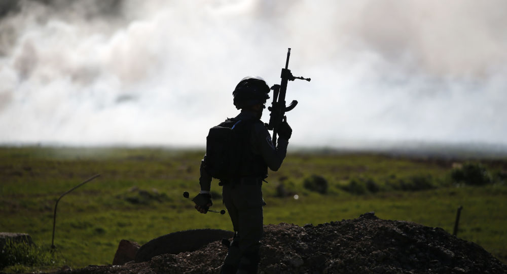 An Israeli soldier pictured during a confrontation with Palestinians in the village of al-Mughayyir, north of Ramallah in the occupied West Bank, on January 25, 2019.