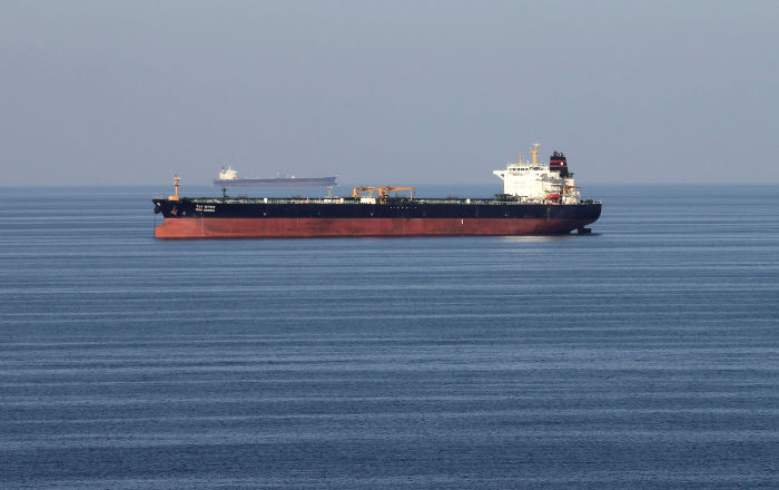 Oil tankers pass through the Strait of Hormuz, December 21, 2018.