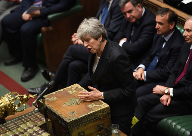 Britain's Prime Minister Theresa May speaks at the House of Commons in London, Britain June 26, 2019