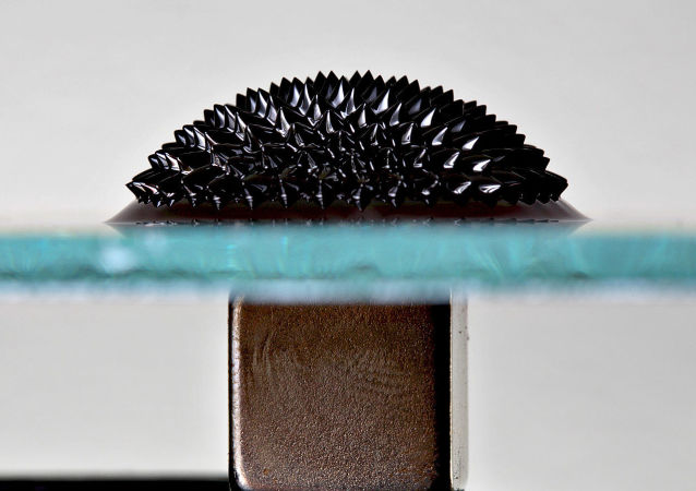 Ferrofluid on a reflective glass plate under the influence of a strong magnetic field.