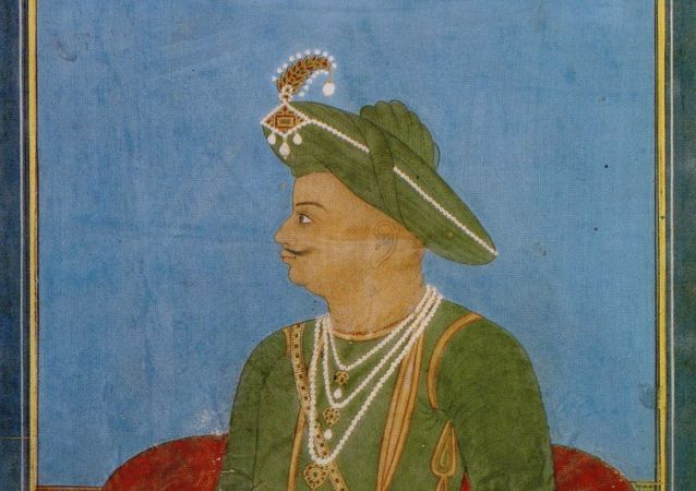 Portrait of Tipu Sultan by an anonymous Indian artist in Mysore, ca. 1790–1800