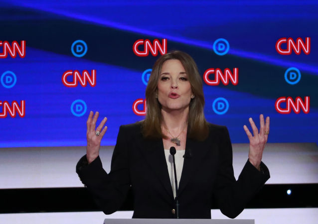Candidate and author Marianne Williamson gestures during the first night of the second 2020 Democratic presidential debate in Detroit, Michigan, 30 July 2019.