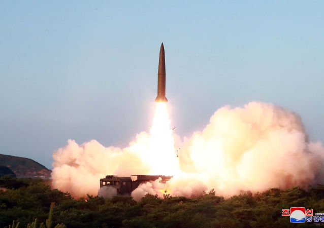 A view of North Korea's missile launch on Thursday, in this undated picture released by North Korea's Central News Agency (KCNA) on July 26, 2019