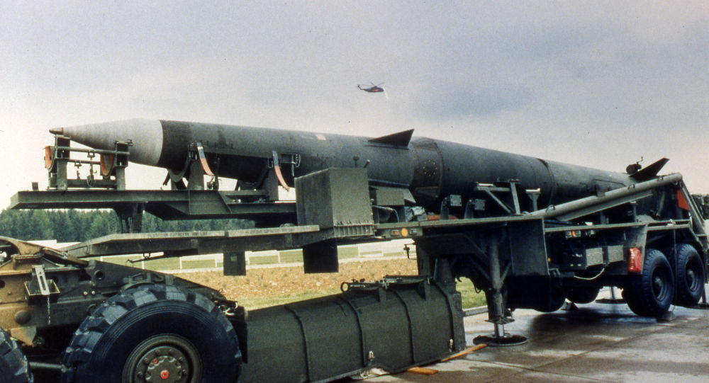 A Pershing II missile is seen on a semi-trailer at the Mutlangen, West Germany, US missile base, as the press was given a chance to inspect the army base May 20, 1987