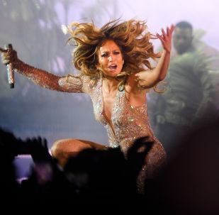 American singer Jennifer Lopez performs during her concert at VTB Arena Stadium in Moscow, Russia