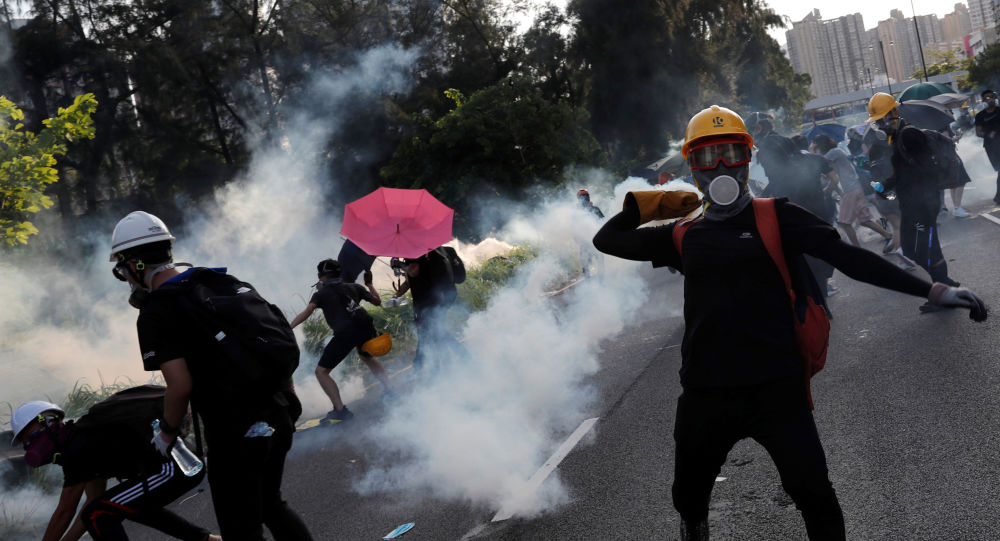 Protesters at Tai Po residential area in Hong Kong, China, August 5, 2019.