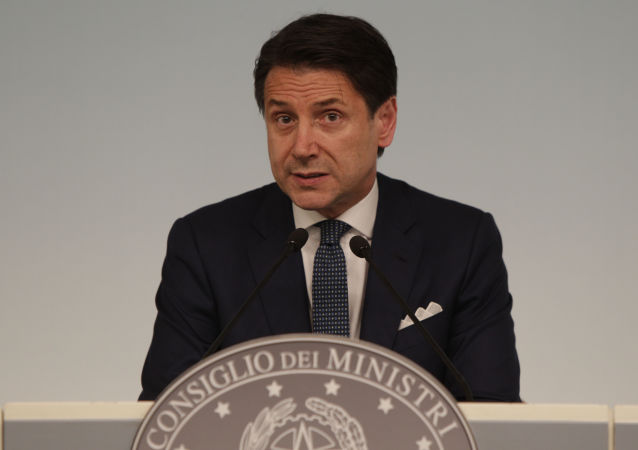 Italian premier Giuseppe Conte gives a press conference at Chigi Palace in Rome Thursday evening, Aug. 8, 2019. Italy faced a government crisis Thursday as Interior Minister Matteo Salvini of the right-wing League party called for a new election, saying his party's coalition with the populist 5-Star Movement had collapsed over policy differences.
