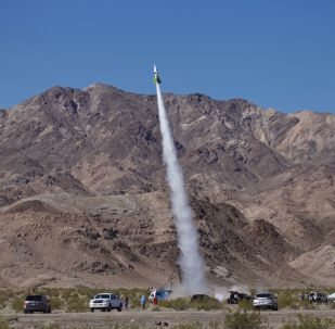 Mad Mike Hughes' home-made rocket launches near Amboy, Calif., on Saturday, March 24, 2018. The self-taught rocket scientist who believes the Earth is flat propelled himself about 1,875 feet into the air before a hard-landing in the Mojave Desert that left him injured.