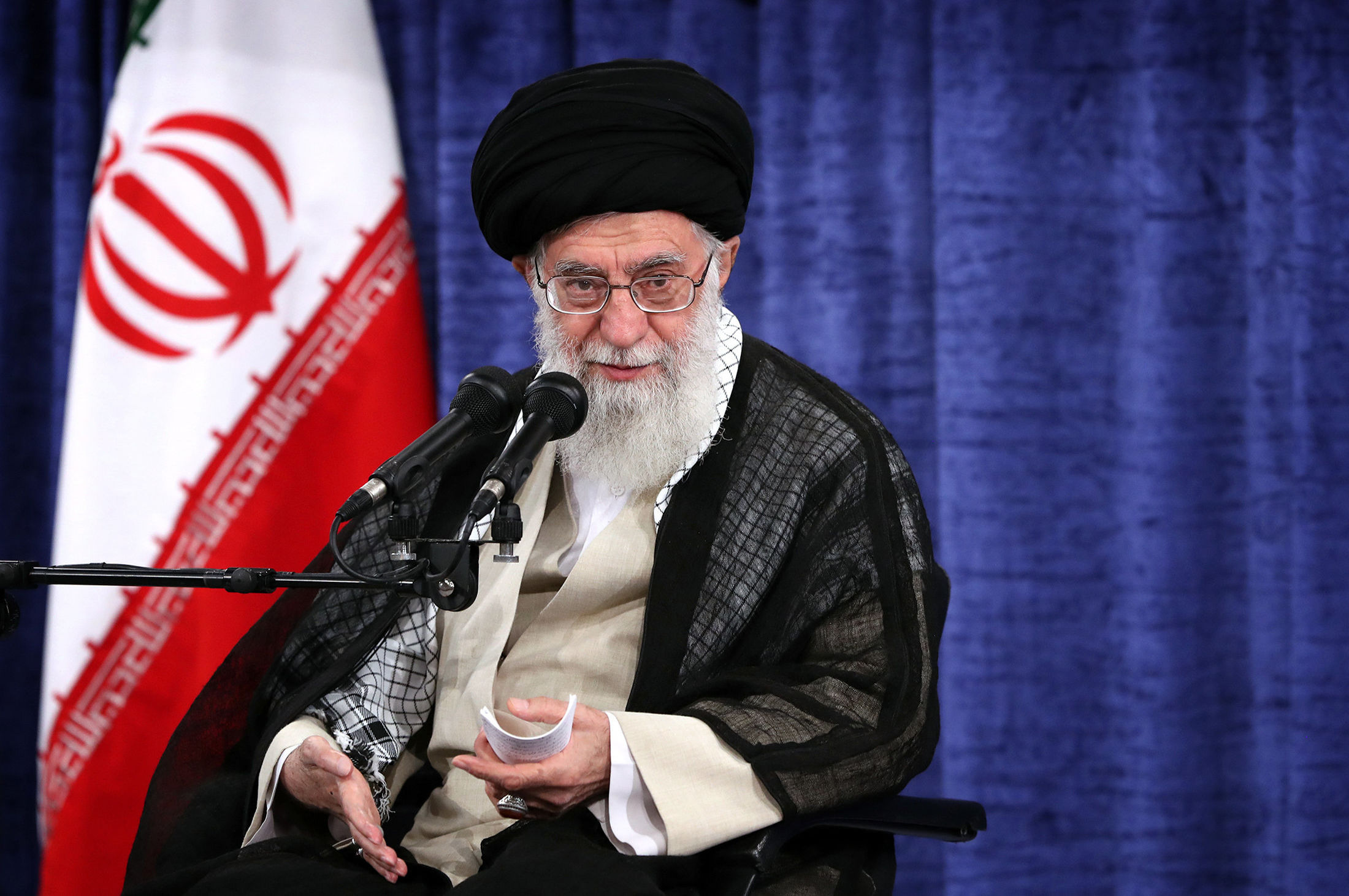 In this picture released by the official website of the office of the Iranian supreme leader, Supreme Leader Ayatollah Ali Khamenei speaks during a meeting with government officials in Tehran, Iran, Wednesday, May 23, 2018