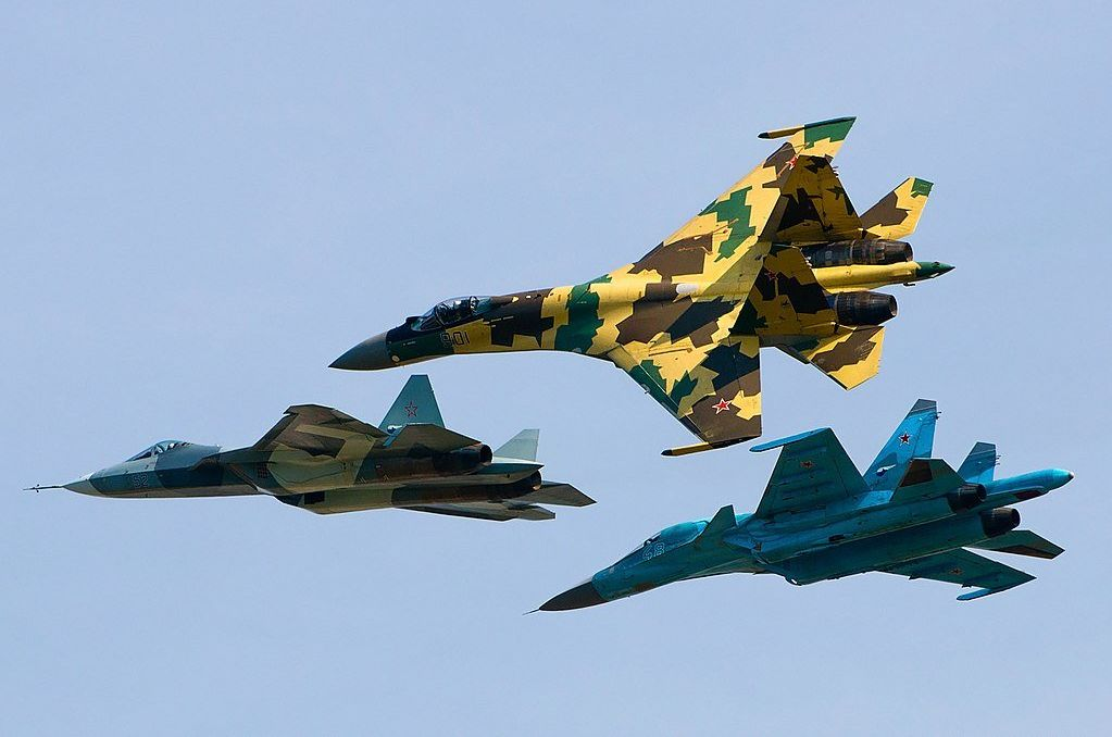 Sukhoi Su-35S, Su-34 and T-50 flying together