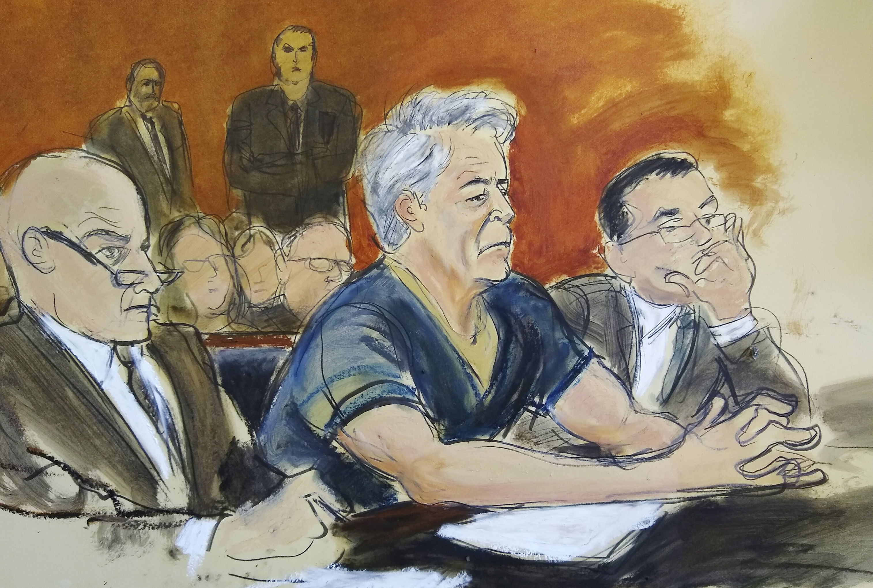 In this courtroom artist's sketch, defendant Jeffrey Epstein, center, sits with attorneys Martin Weinberg, left, and Marc Fernich during his arraignment in New York federal court, Monday, July 8, 2019. Epstein pleaded not guilty to federal sex trafficking charges. The 66-year-old is accused of creating and maintaining a network that allowed him to sexually exploit and abuse dozens of underage girls from 2002 to 2005.