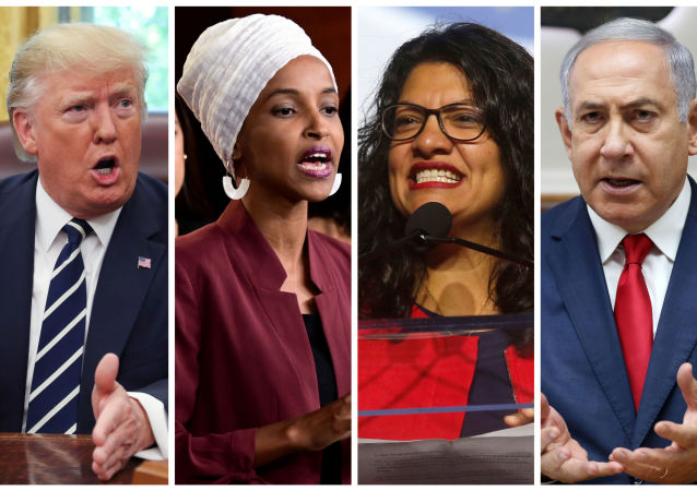 U.S. President Donald Trump, U.S. Congresswomen Ilhan Omar, Rashida Tlaib, and Prime Minister Benjamin Netanyahu are seen in a combination from file photos.