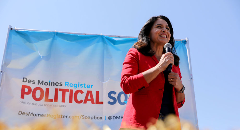 2020 Democratic U.S. presidential candidate Tulsi Gabbard speaks at the Iowa State Fair in Des Moines, Iowa, US, 9 August 2019.