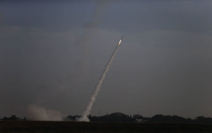 Israeli Iron Dome air defense system launches to intercept rocket from Gaza Strip, near Israel and Gaza border, Sunday, May 5, 2019. Palestinian militants in the Gaza Strip on Sunday intensified a wave of rocket fire into southern Israel, striking towns and cities across the region while Israeli forces struck dozens of targets throughout Gaza, including militant sites that it said were concealed in homes or residential areas