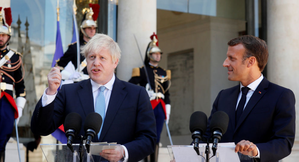 French President Emmanuel Macron and British Prime Minister Boris Johnson deliver a joint statement before a meeting on Brexit at the Elysee Palace in Paris, France, August 22, 2019