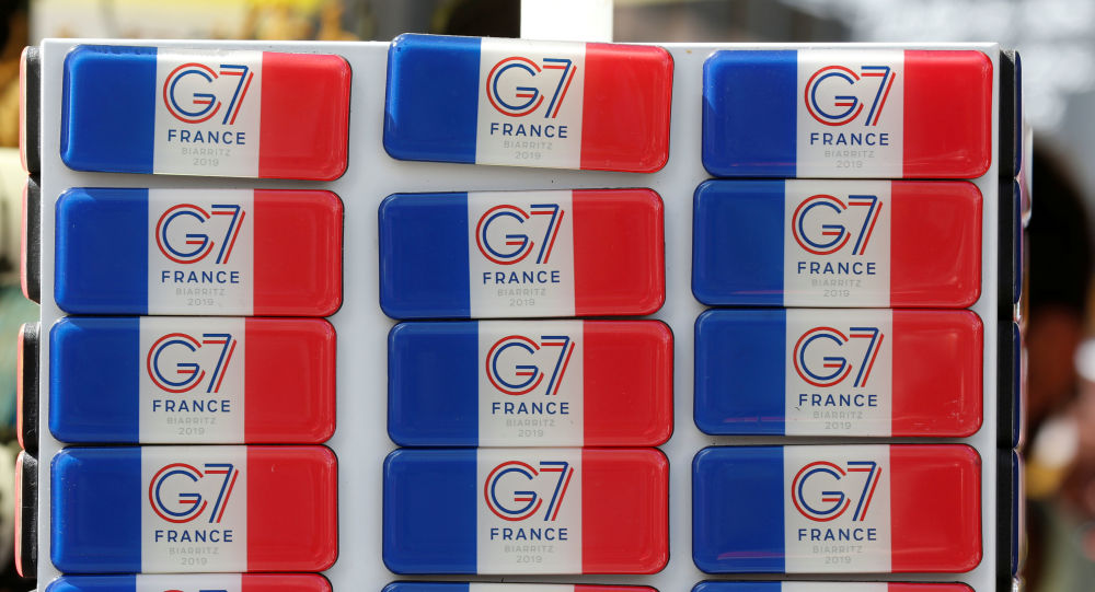 Souvenir magnets of G7 summit are displayed for sale in a shop ahead of the G7 summit in Biarritz, France