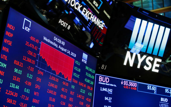 A screen shows the numbers after the closing bell at the New York Stock Exchange (NYSE) in New York, U.S., August 14, 2019.