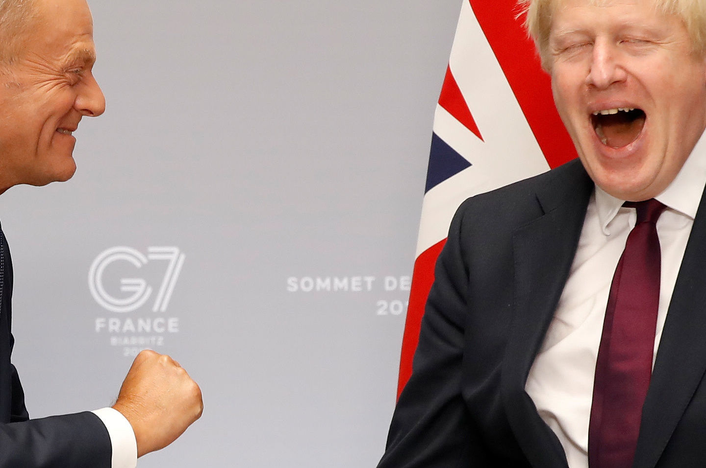 Britain's Prime Minister Boris Johnson meets European Council President Donald Tusk for a bilateral meeting during the G7 summit in Biarritz, France, August 25, 2019.