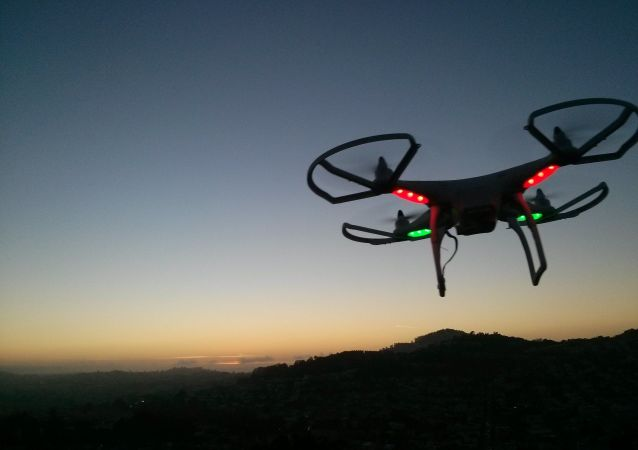 Drone landing at sunset