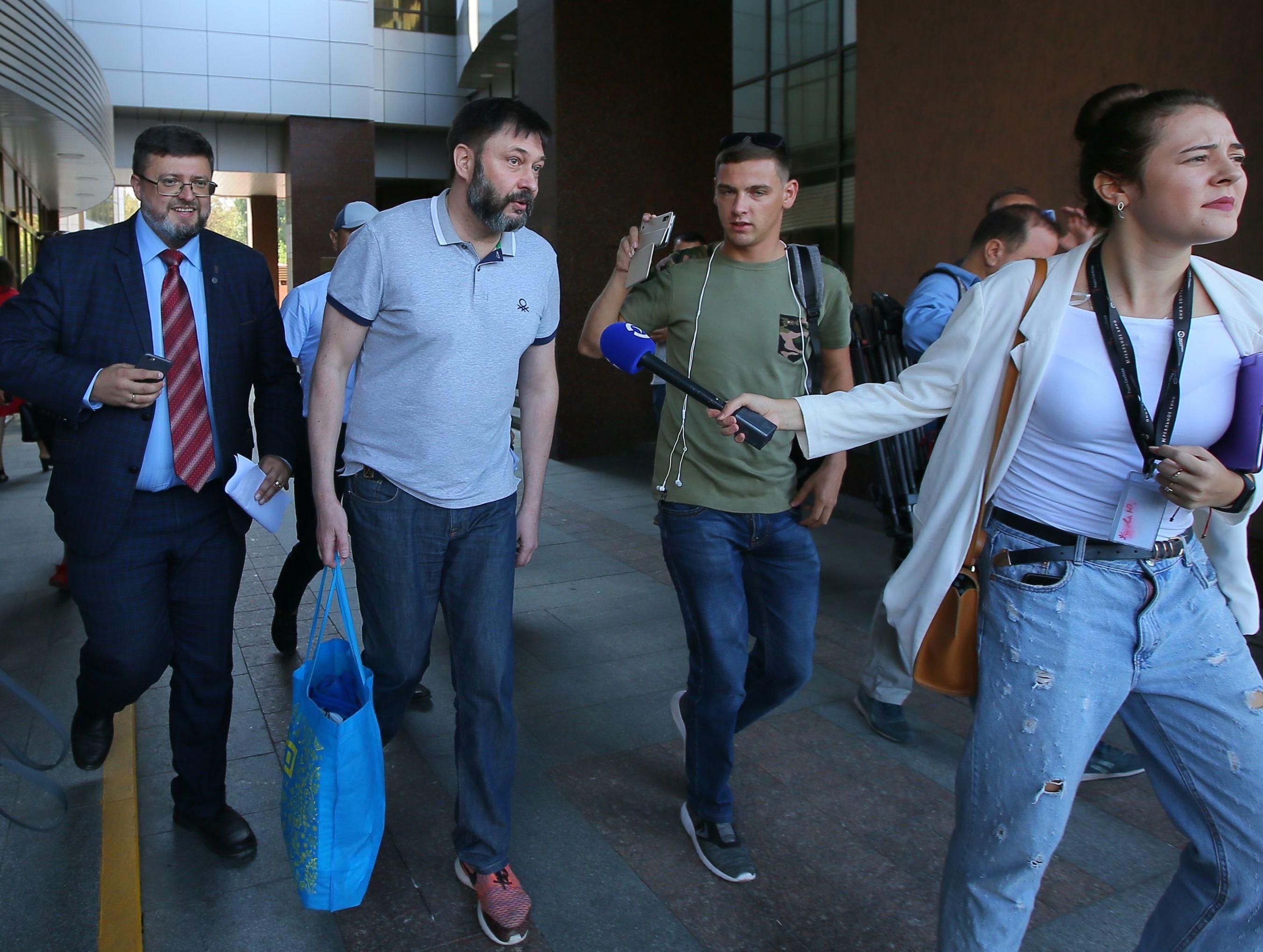 Ria Novosti Ukraine Editor-in-Chief Kirill Vyshinsky near a court building in Kiev