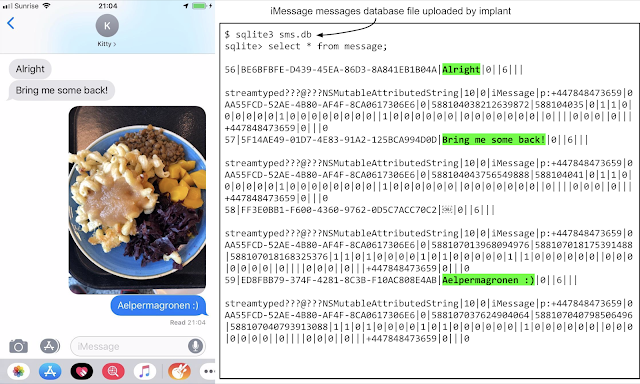 A screenshot of a conversation in iMessage showing a database file uploaded by the malicious implant.