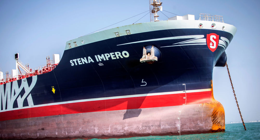 Stena Impero, a British-flagged vessel owned by Stena Bulk, is seen at an undisclosed place off the coast of Bandar Abbas, Iran, 22 August 2019