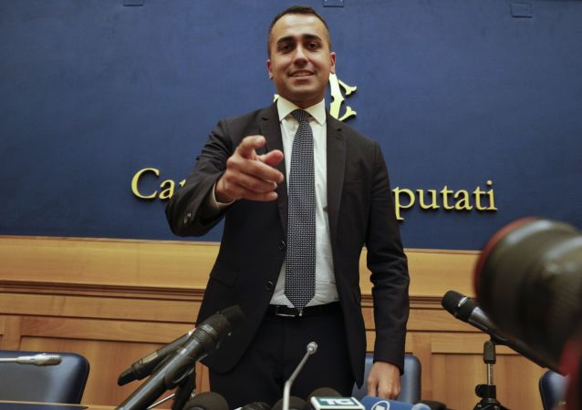Leader of the 5-Star Movement, Luigi Di Maio, meets the media in Rome, Tuesday, Sept. 3, 2019