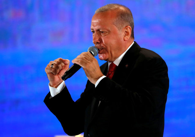 Turkish President Tayyip Erdogan addresses his supporters during a ceremony marking the third anniversary of the attempted coup at Ataturk Airport in Istanbul, Turkey, July 15, 2019