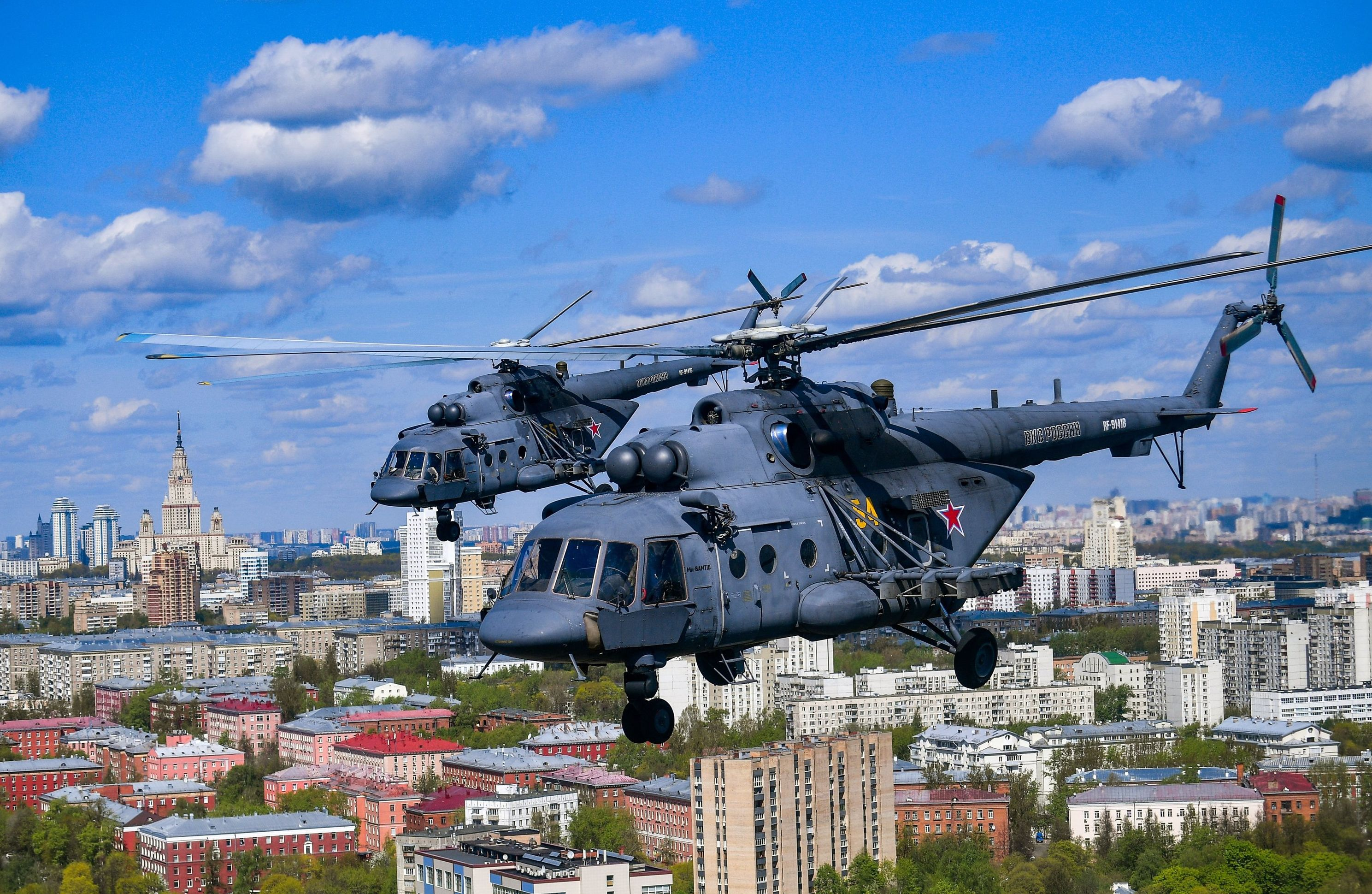 Mi-8 helicopters during V-Day parade rehearsal