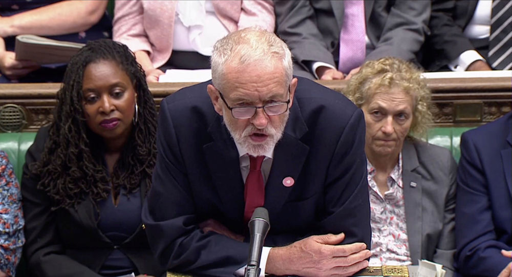 Britain's opposition Labour Party leader Jeremy Corbyn speaks during the weekly question time debate in Parliament in London, 4 September 2019, in this screen grab taken from a video.