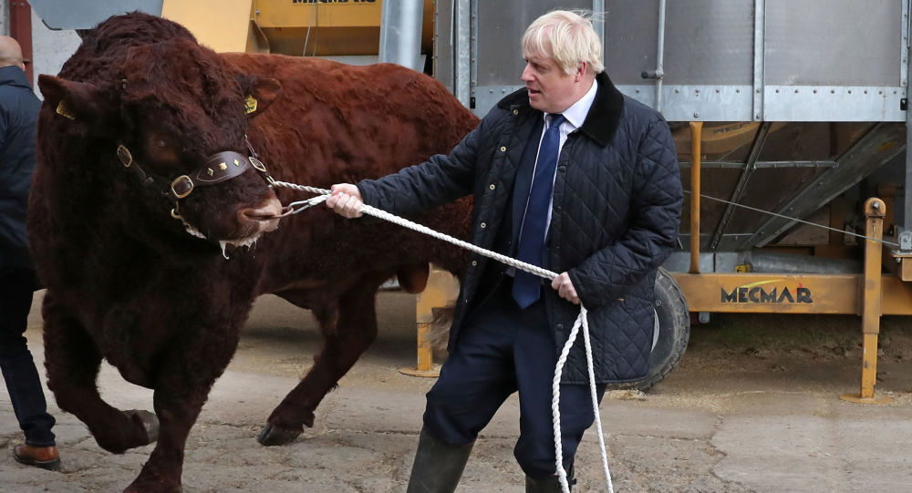 Britain's Prime Minister Boris Johnson visits Darnford Farm in Darnford, Banchory near Aberdeen, Scotland, Britain September 6, 2019.