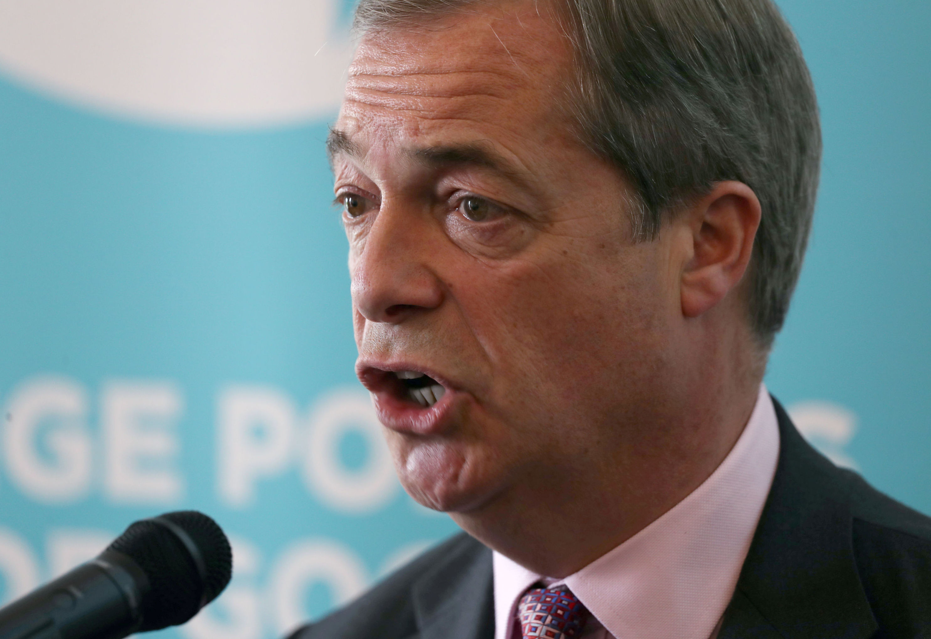Leader of the Brexit Party Nigel Farage speaks at Brexit Party's news conference in London, Britain, June 24, 2019.
