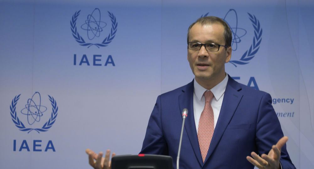 Cornel Feruta, acting Director General of the International Atomic Energy Agency (IAEA), speaks during  a press conference after the IAEA Board of Governors meeting at the agency's headquarters in Vienna, Austria on September 9, 2019.