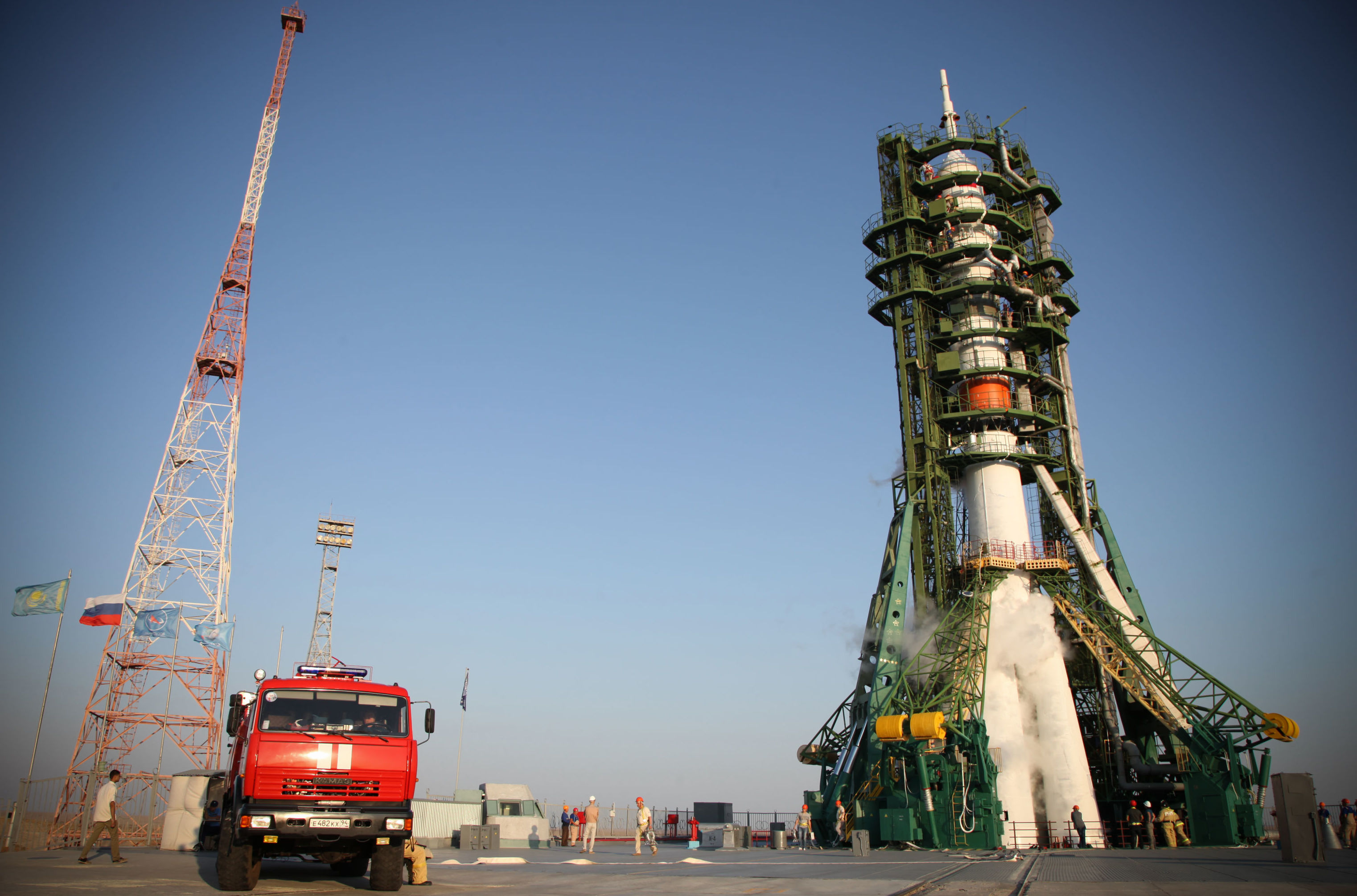 Soyuz-2.1a carrier rocket is being prepared to be launched