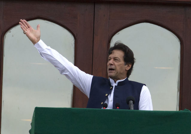 Pakistani Prime Minister Imran Khan addresses a Kashmir rally at the Prime Minister office in Islamabad, Pakistan, Friday, Aug. 30, 2019